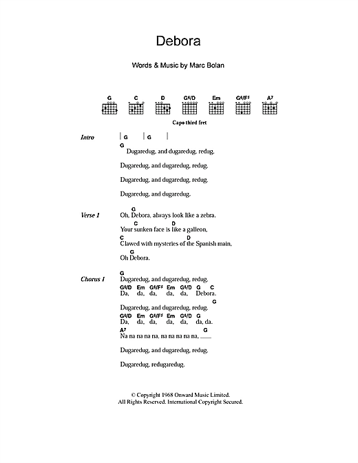 Debora (Guitar Chords/Lyrics)