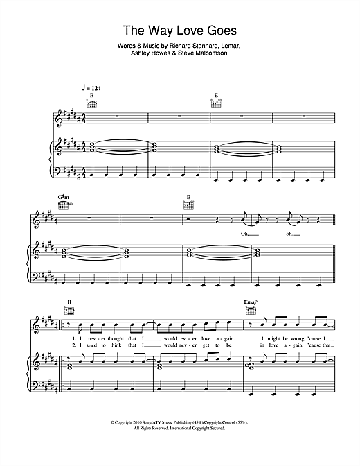 The Way Love Goes Sheet Music