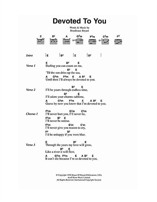 Devoted To You (Guitar Chords/Lyrics)