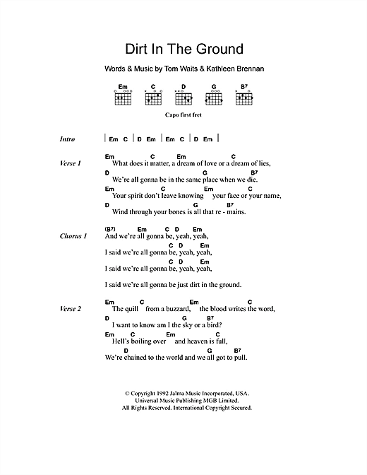Dirt In The Ground Sheet Music