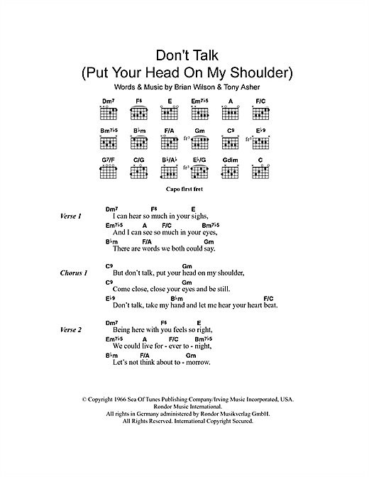 Don't Talk (Put Your Head On My Shoulder) Sheet Music
