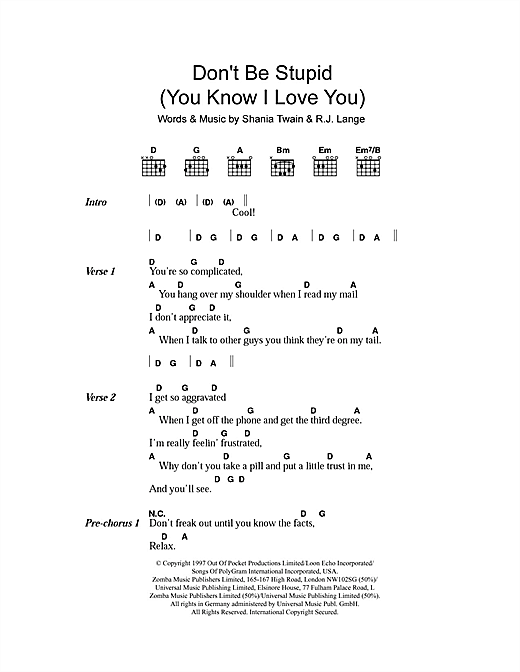 Don't Be Stupid (You Know I Love You) (Guitar Chords/Lyrics)