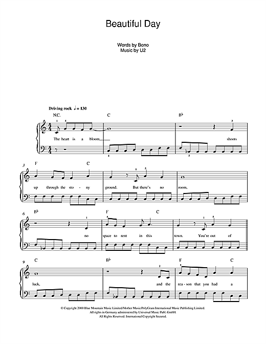 Beautiful Day Sheet Music