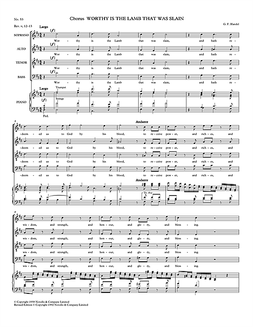 Partition chorale Worthy Is The Lamb That Was Slain (from Messiah - Watkins Shaw Edition) de George Frideric Handel - SATB