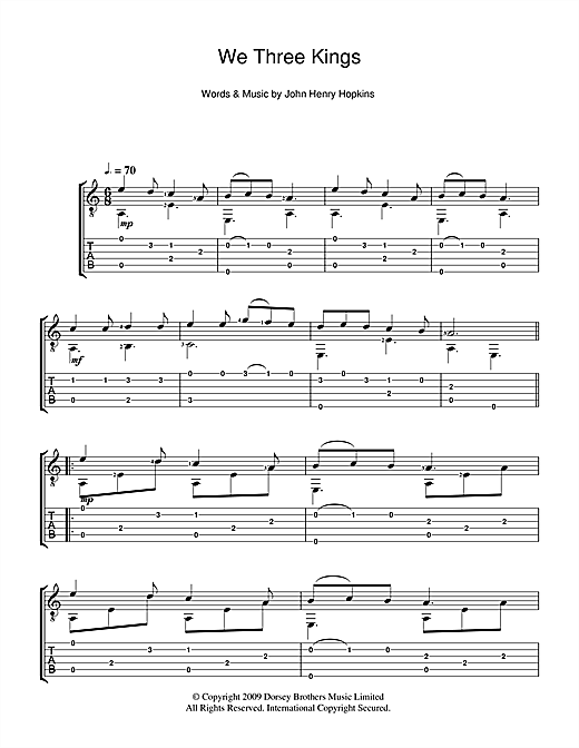 Tablature guitare We Three Kings Of Orient Are de Christmas Carol - Tablature Guitare