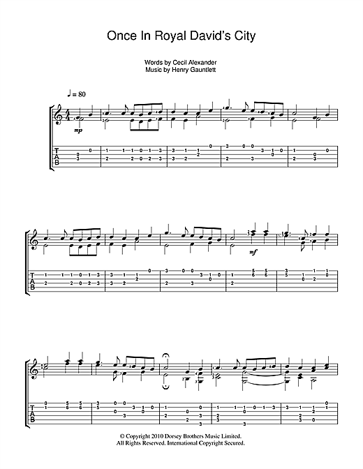 Tablature guitare Once In Royal David's City de Christmas Carol - Tablature Guitare