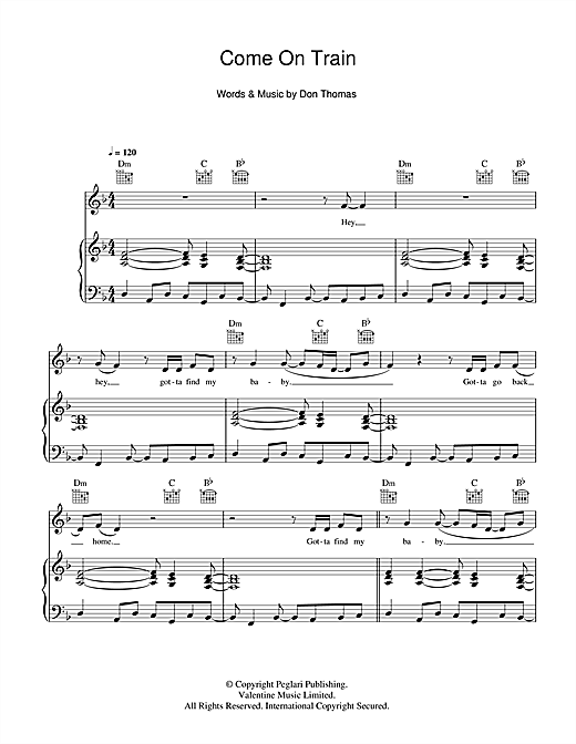 Come On Train Sheet Music