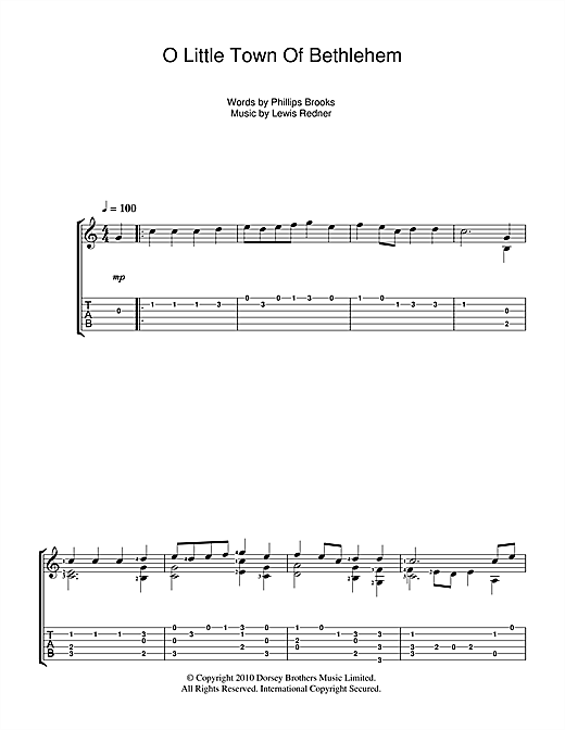 Tablature guitare O Little Town Of Bethlehem de Christmas Carol - Tablature Guitare