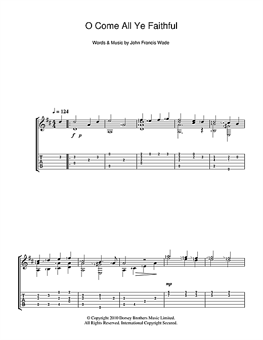 O Come All Ye Faithful (Guitar Tab)
