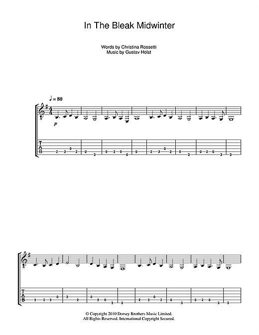 In The Bleak Midwinter Guitar Tab By Christmas Carol Guitar Tab