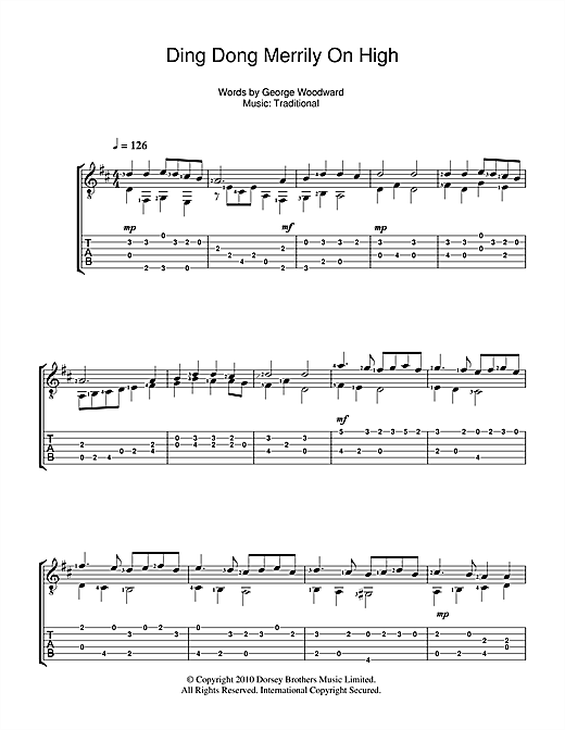 Tablature guitare Ding Dong Merrily On High de Christmas Carol - Tablature Guitare