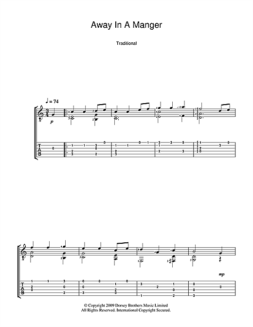 Tablature guitare Away In A Manger de Christmas Carol - Tablature Guitare