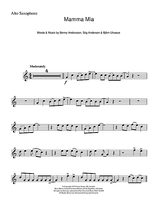 Mamma Mia Alto Sax Solo Print Sheet Music Now