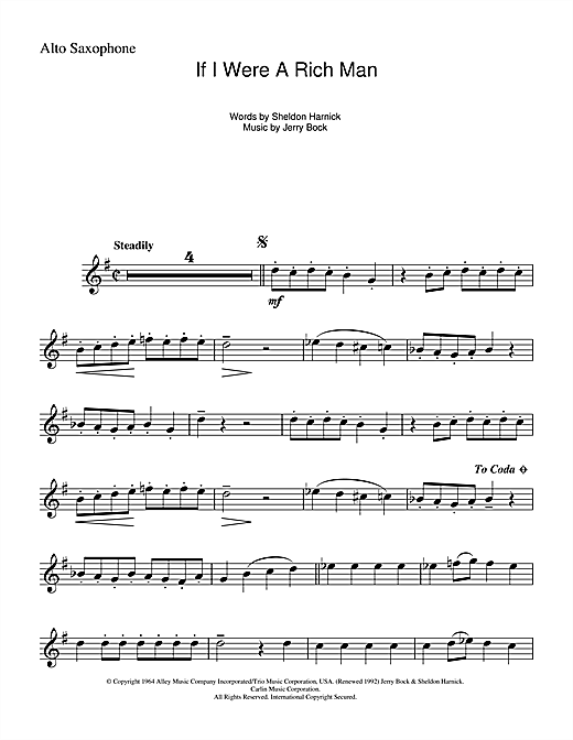 If I Were A Rich Man (from The Fiddler On The Roof) Sheet Music