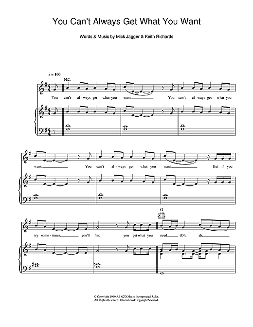 You Can't Always Get What You Want Sheet Music