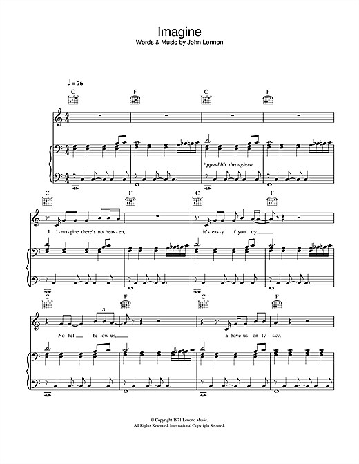 Partition piano Imagine de Glee Cast - Piano Voix Guitare