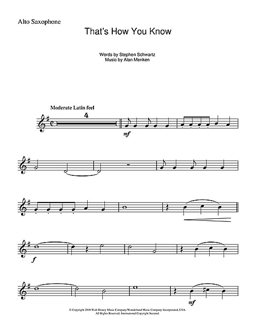 Partition saxophone That's How You Know (from Enchanted) de Alan Menken - Sax Alto