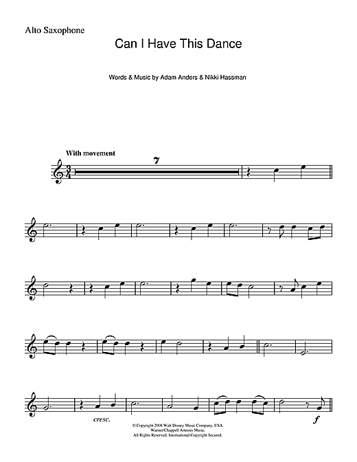 Can I Have This Dance (from High School Musical) Sheet Music