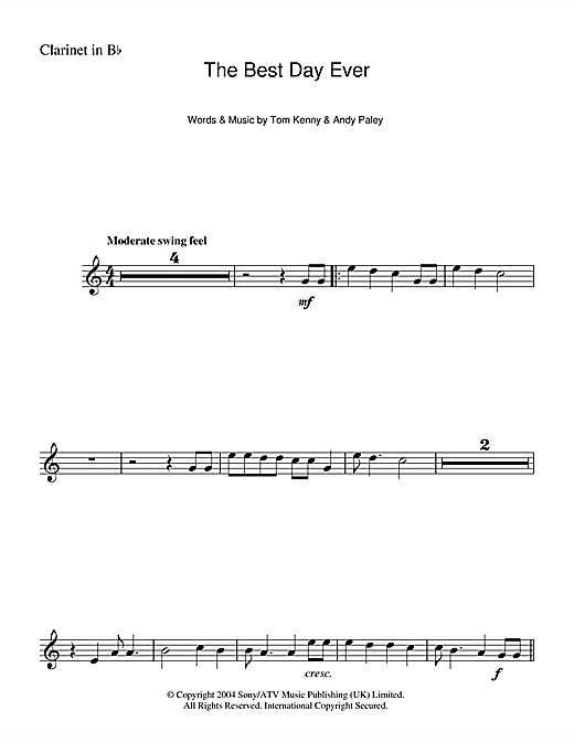 The Best Day Ever (from The SpongeBob SquarePants Movie) Sheet Music