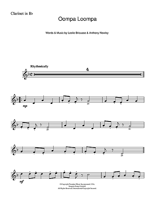 Oompa Loompa (from Charlie And The Chocolate Factory) Sheet Music