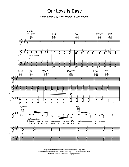 Our Love Is Easy Sheet Music