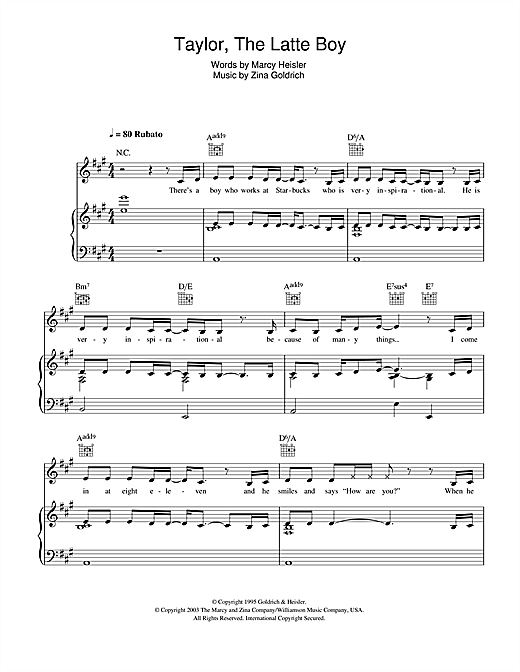 Taylor, The Latte Boy Sheet Music