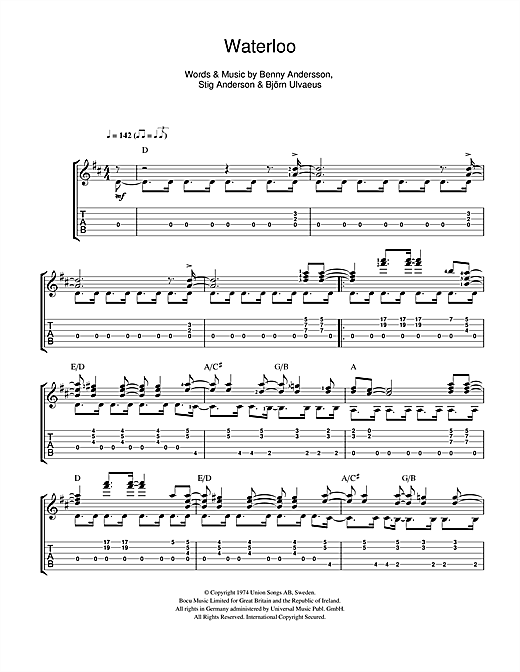 Tablature guitare Waterloo de ABBA - Guitare Classique