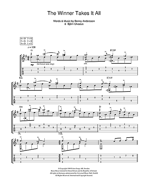 Tablature guitare The Winner Takes It All de ABBA - Guitare Classique