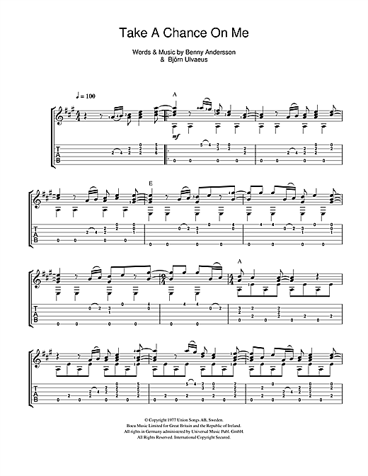 Tablature guitare Take A Chance On Me de ABBA - Guitare Classique
