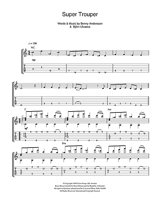 Tablature guitare Super Trouper de ABBA - Guitare Classique