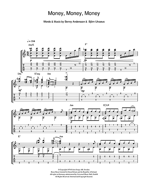Money, Money, Money Sheet Music