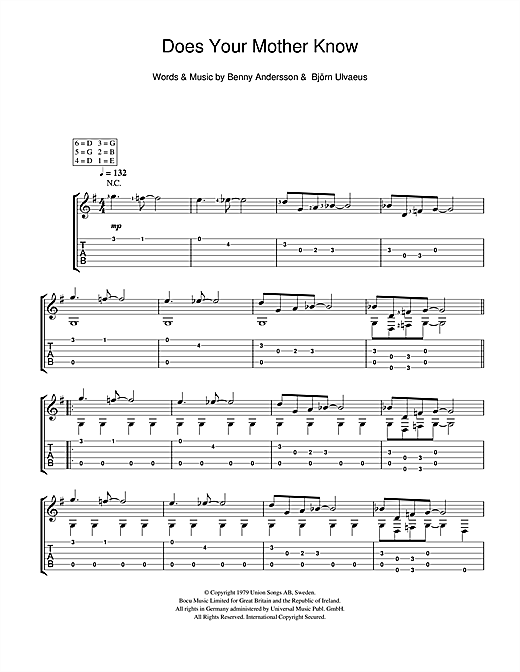 Tablature guitare Does Your Mother Know de ABBA - Guitare Classique