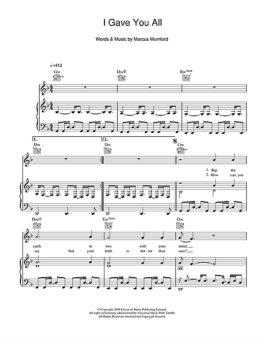 I Gave You All Sheet Music