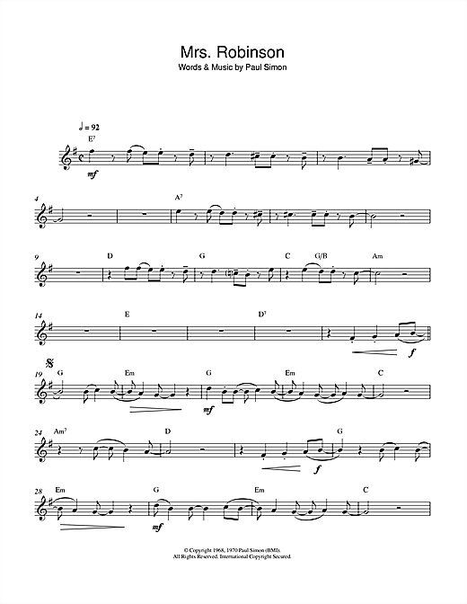 Mrs. Robinson Sheet Music