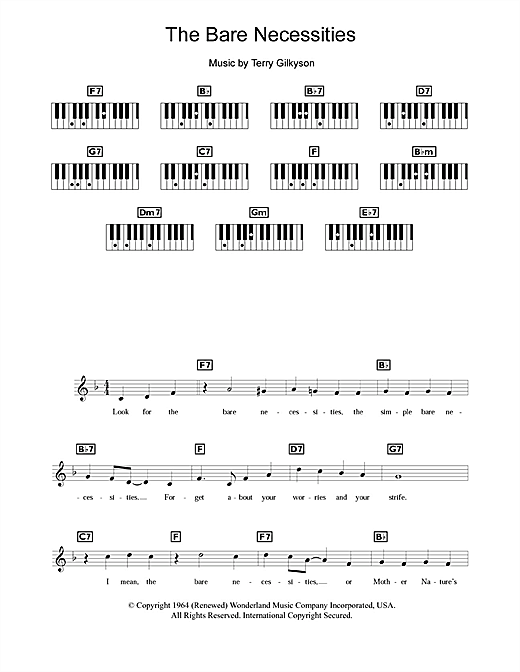 Partition piano The Bare Necessities (from Disney's The Jungle Book) de Terry Gilkyson - Synthétiseur