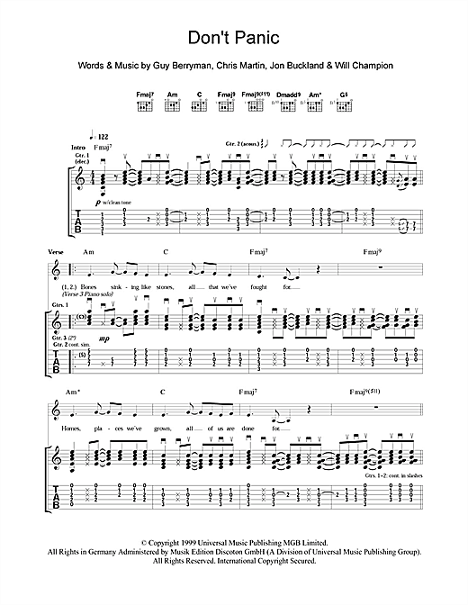 Tablature guitare Don't Panic de Coldplay - Tablature Guitare