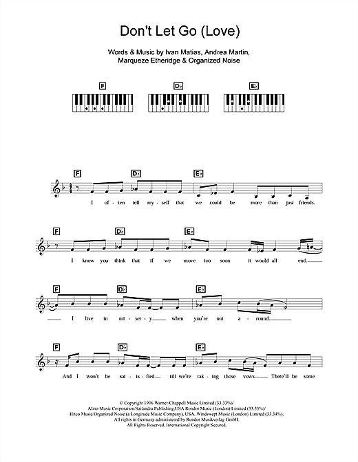 Don't Let Go (Love) Sheet Music