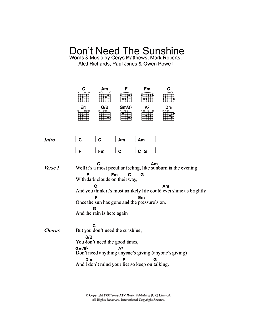 Don't Need The Sunshine (Guitar Chords/Lyrics)