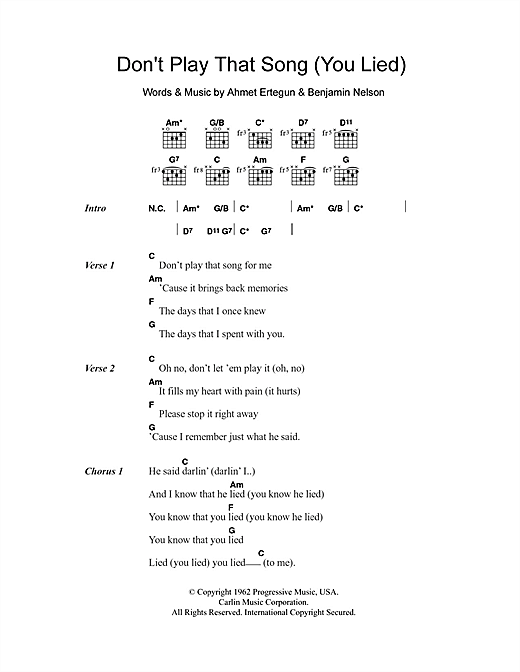 Don't Play That Song (You Lied) Sheet Music