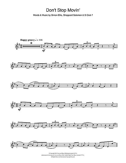 Partition saxophone Don't Stop Movin' de S Club 7 - Sax Alto