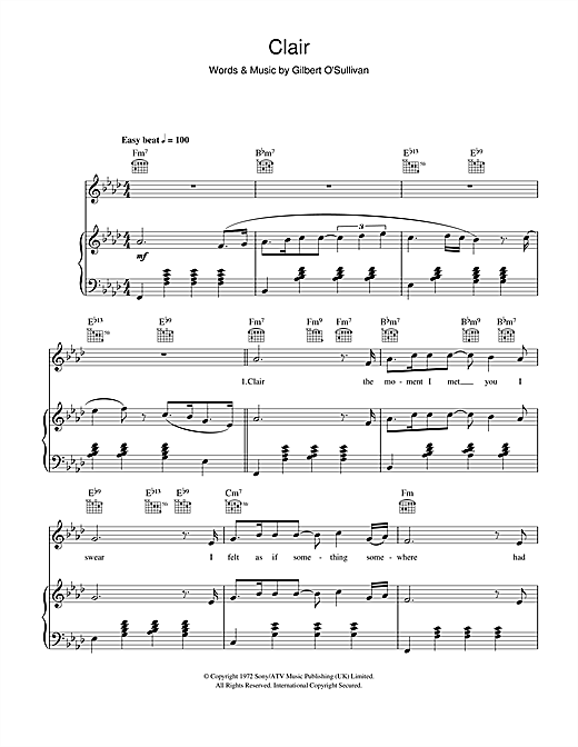 Clair Sheet Music