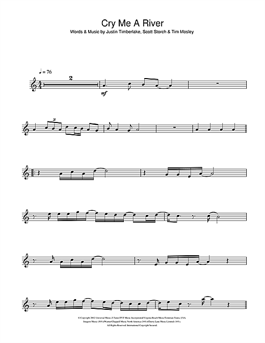 Cry Me A River Sheet Music
