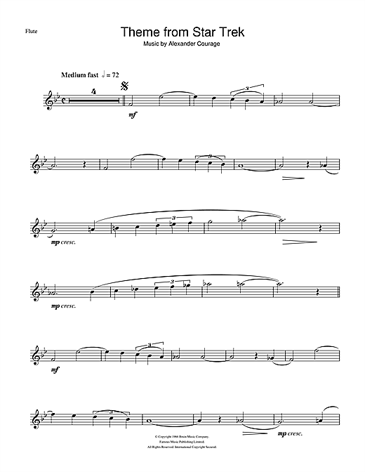 Partition flûte Theme from Star Trek de Alexander Courage - Flute traversiere