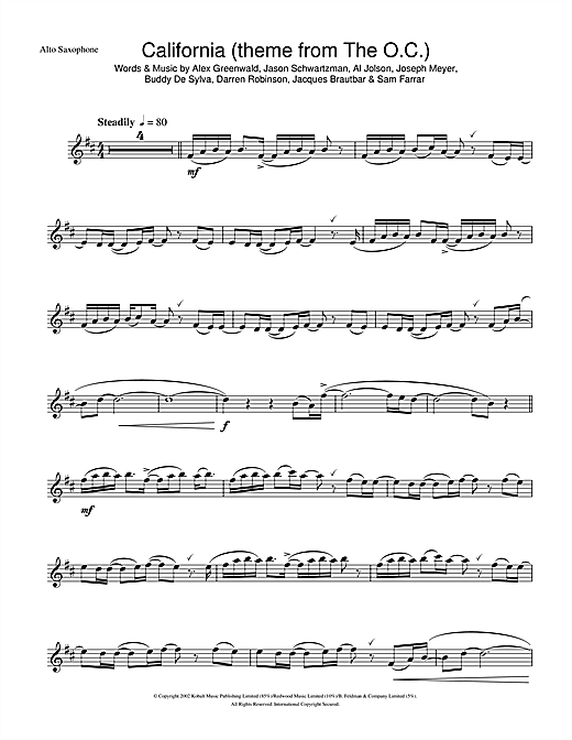 California (theme from The OC) Sheet Music