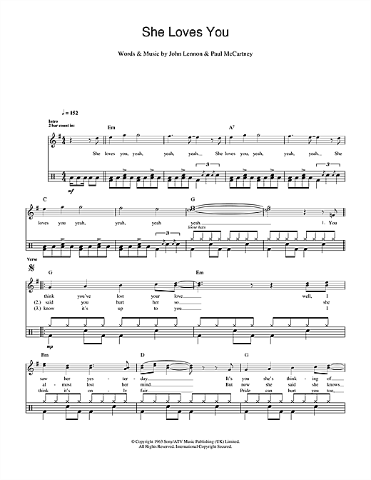 She Loves You Drums Print Sheet Music Now