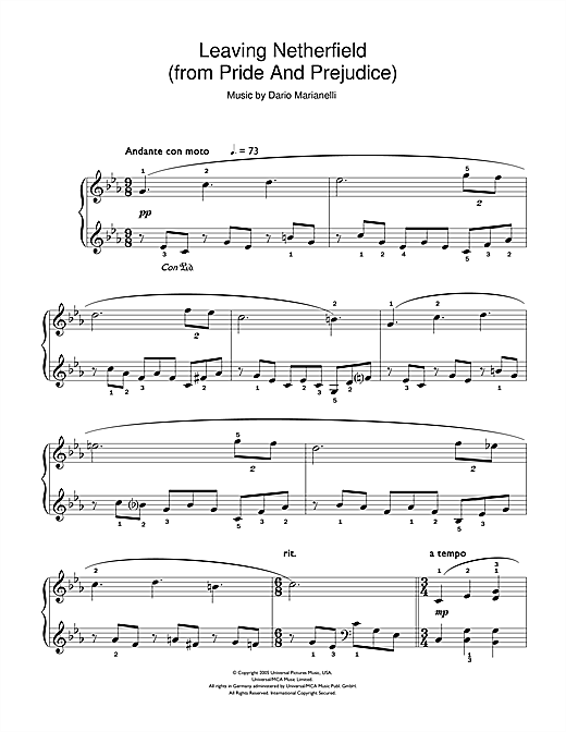 Leaving Netherfield (from Pride And Prejudice) (Easy Piano)