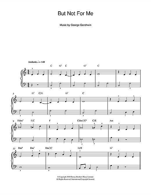 Partition piano But Not For Me de George Gershwin - Piano Facile