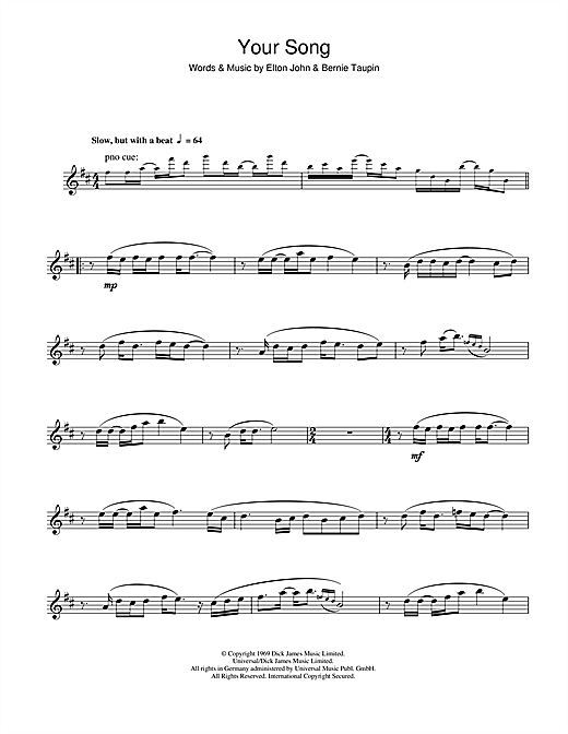 Your Song Sheet Music