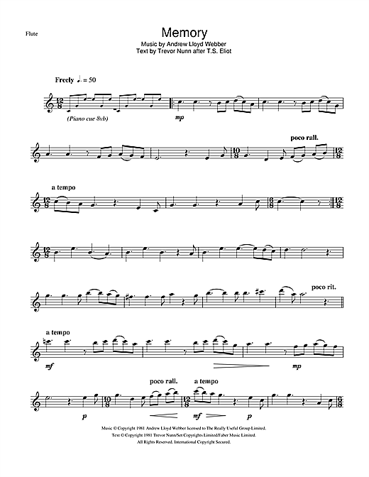 Partition flûte Memory (from Cats) de Andrew Lloyd Webber - Flute traversiere