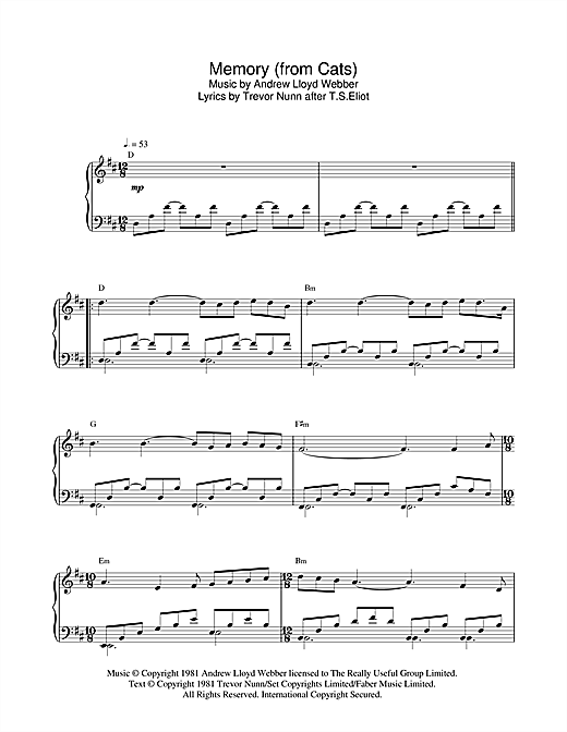 Partition piano Memory (from Cats) de Andrew Lloyd Webber - Piano Solo